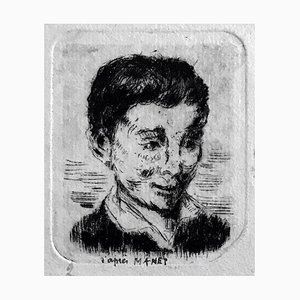 Albert Lepreux, Portrait of Boy After Manet, Etching on Paper, Early 20th Century