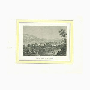 Ancient View of Como, Original Lithograph on Paper, 19th Century