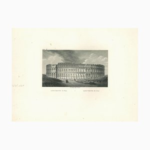Ancient View of Pola Amphitheater, Original Lithograph on Paper, 19th Century