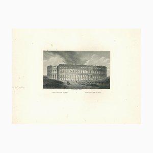 Original View of Pola Amphitheatre, Litografia originale su carta, XIX secolo