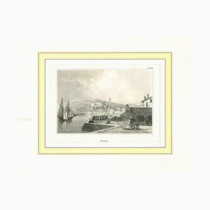 Ancient View of Triest, Original Lithograph on Paper, 19th Century