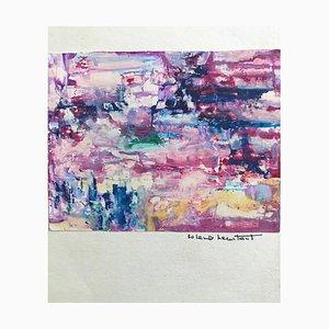 Composition en Rose et Violet, Dessin Original, Moyen-20ème Siècle