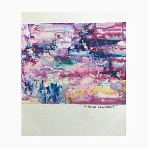 Composition in Pink and Violet, Original Drawing, Mid-20th Century