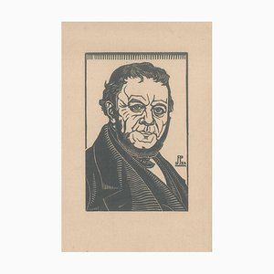 The Portrait, Original Holzschnitt auf Druck, Frühes 20. Jahrhundert