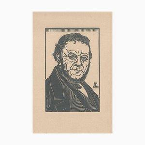The Portrait, Original Woodcut on Print, Early 20th Century