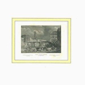 View of Ponte Santa Trinita, Original Lithograph Print on Paper, 19th Century