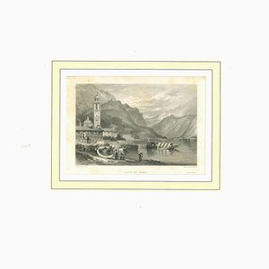 Ancient View of Lake of Como, Original Lithograph on Paper, 19th Century