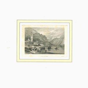 Lithographie Originale sur le Lac de Côme, 19ème Siècle