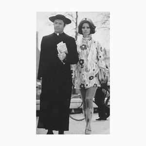 Actors Marcello Mastroianni and Sophia Loren, Vintage Black & White Photograph, 1971