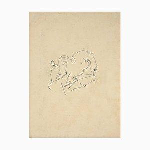 Der Mann mit Zigarette, Original Zeichnung in China Tinte, Frühes 20. Jahrhundert