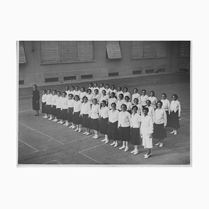 Physical Education at School, Vintage Black & White Photograph, 1934