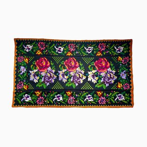 Vintage Handmade Romanian Rug with Pink Roses and Purple Flowers