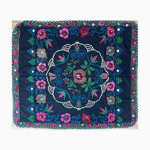 Vintage Handmade Floral Bedspread or Sofa Cover with Colourful Floral Design & Crochet Border