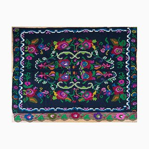 Handmade Vintage Floral Sofa or Bed Coverlet, Romania