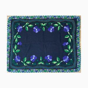 Vintage Floral Handmade Rug or Sofa Cover with Purple Floral Design & Crochet Border