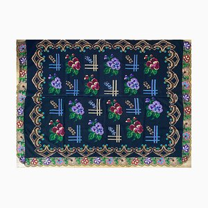 Vintage Handmade Floral Sofa Cover or Bedspread, Romania