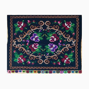 Vintage Handmade Floral Sofa or Bed Cover, Romania