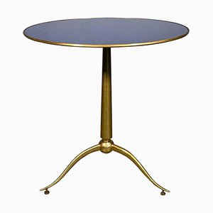 Blue Glass and Brass Side Table by Osvaldo Borsani