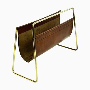 Large Mid-Century Austrian Leather and Brass Magazine Rack by Carl Auböck