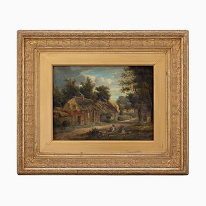 Swedish School Landscape with Cottages, 19th Century
