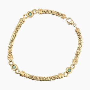 Bracciale in oro giallo 18 carati color smeraldo