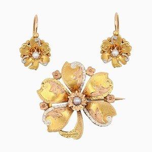 Juego de pendientes de palanca de oro natural de 18 quilates con perlas, década de 1900. Juego de 3