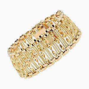 French 18 Karat Yellow Gold Wire and Twist Openwork Bracelet,1950s
