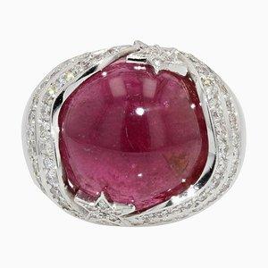 Gewölbter 18 Karat Rubin und Diamant 18 Karat Weißgold Ring