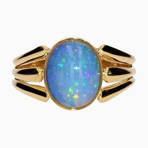 French Opal 18 Karat Yellow Gold Openwork Ring, 1900s