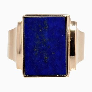 Chevalière Lapis Lazuli 18 Carat en Or Jaune, France, 1960s