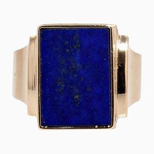 French Lapis Lazuli 18 Karat Yellow Gold Signet Ring, 1960s