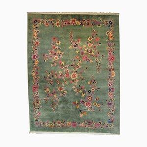 Alfombra Art Déco en verde y flores, siglo XIX