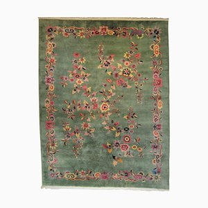 Tappeto verde e floreale Art Déco, XIX secolo