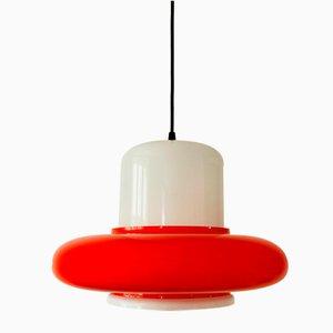 Hängelampe aus Glas in Rot & Weiß von Napako