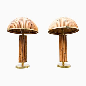 Italian Brass and Bamboo Table Lamp, Set of 2