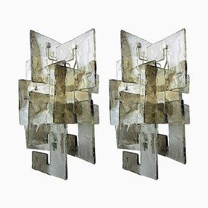Murano Glas Wandleuchten von Carlo Nason, 2er Set