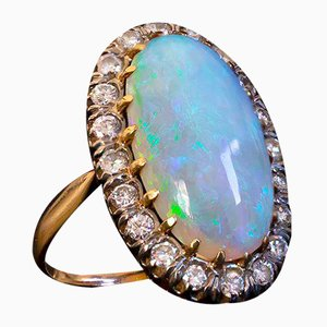 Vintage 18k Gold Ring with Australian Harlequin Opal and Brilliant Cut Diamonds, 1950s