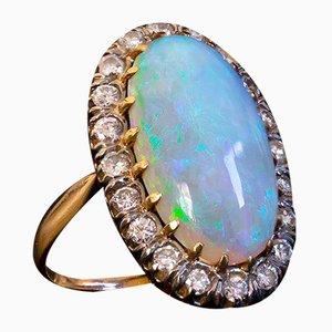 Vintage Ring aus 18 kt Gold mit Diamanten aus australischem Harlequin-Opal & Diamanten im Brillantschliff, 1950er