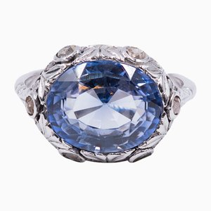 Antique 18k White Gold Ring with Synthetic Sapphire and Rosette Cut Diamonds, 1920s