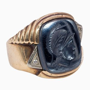 10k Gold Men's Ring with Engraved Hematite, 1940s