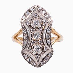 Antiker 18 Karat Gold Ring mit Geschliffenen Diamanten, 1930er