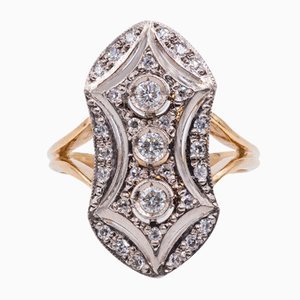 Antique 18k Gold Ring with Cut Diamonds, 1930s