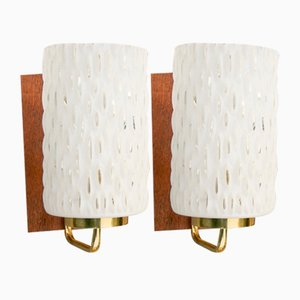 Mid-Century Wall Sconces in White Glass, Set of 2