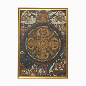 Tibet, Nepal-Thangka Painting, Vintage Picture in Golden Stucco Frame