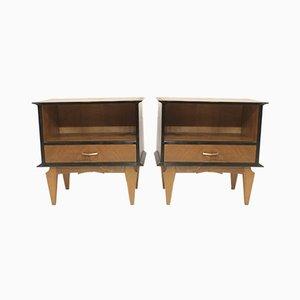 Tables de Chevet Vintage en Chêne Plaqué, 1960s, Set de 2