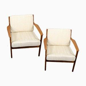Schwedische Teak USA 75 Sessel von Folke Ohlsson für Dux, 1960er, 2er Set