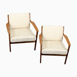 Swedish Teak USA 75 Lounge Chairs by Folke Ohlsson for Dux, 1960s, Set of 2
