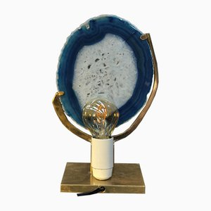 Lampe de Bureau Brutaliste Vintage en Agate & Bronze Attribuée à Willy Daro