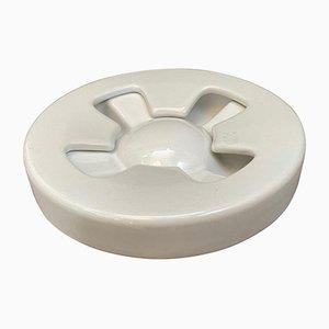 White Ceramic Ashtray by Mangiarotti for Brambilla, 1970s