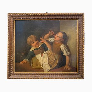 Mid-19th Century Giltwood Framed Painting Depicting 2 Children's Eating Grapes